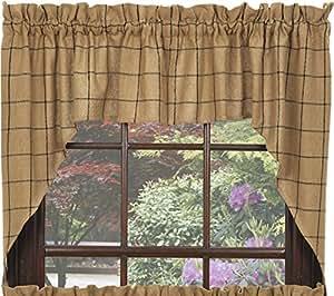 Swag Window Curtain Burlap Check Design 100