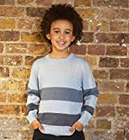 Pure Cotton Crew Neck Tonal Stripe Jumper