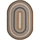 Safavieh Braided Collection BRD313A Hand-Woven Area Rug, 8-Feet by 10-Feet, Brown and Multi Oval