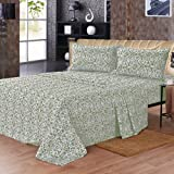 Maine Street Living Microfiber Baroque and Solid Sheet Set, King, Green, 2-Pack