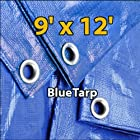 9' X 12' Blue Waterproof Poly Tarp 9x12 Tarpaulin for Camping Hiking Backpacking Tent Shelter Shade Canopy Etc.
