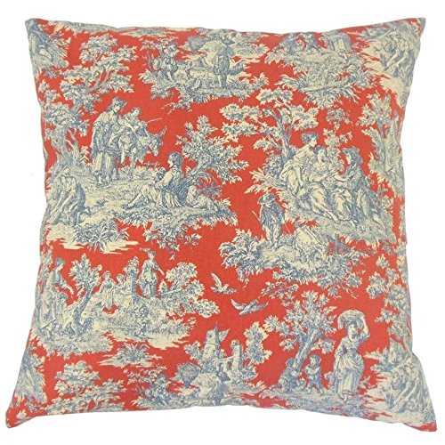 The Pillow Collection P18-WAV-678031-CHARMEDLIFE-HERITAGE-C100 Karston Toile Pillow, Heritage