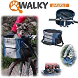 "Walky Basket Pet Dog Bicycle Bike Basket & Carrier Easy Click Release Mounting- Up to 15lbs 15.5"" wide x 10"" depth"