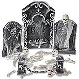 Prextex Halloween Graveyard Set for Spookiest Halloween Decoration Includes Spider Webbing, Mini Skulls, Bones, and RIP Gravestones Best Halloween Decor