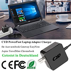 CYD 65W Replacement for Laptop-Charger Acer-Aspire E 15 e5-575-33bm ES 15 e5-575g-53vg e5-553g e5-774g-52w1 e5-774g-52w1 e5-575-53ej e5-575-51gg e5-575-5493 e5-575g-55kk e5-575-51gg e5-575g-728q (Color: 65W Power Adapter Laptop Charger Cord compatible Acer e 15 e5-575-33bm es 15 e5-575g-53vg e5-553g e, Tamaño: 65W Power Adapter Laptop Charger Cord)