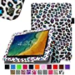 """Fintie Premium PU Leather Case Cover for 10.1 -Inch Android 4.4 KitKat Tablet PC inclu. Polatab Elite Q10.1"""", FUSION5 10.1'', TONBUX 10.1'', Tabexpress 10.1'', iRulu 10.1""""(PLEASE check the complete compatible tablet list under Product Description) - Leopard Rainbow"""