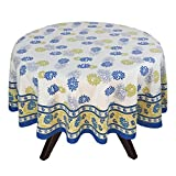 "70"" Round Tablecloth - Exquisite Blue, Yellow, And Green Floral Cotton - Handmade Indian Linen"