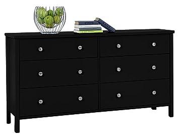 Steens Furniture Kommode, Holzdekor, schwarz, 41 x 153 x 83 cm