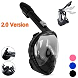 Qwer 180°view Panoramic full face Snorkel Mask,with anti-fog anti-leak snorkeling Design (PURE BLACK, S/M)