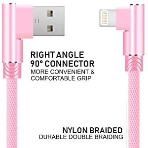 Boost Certified Charging Cable USB Cord 90 Degree Right Angle Extra Long High Speed Data and Charging, Nylon Braided, 1-Pack 6FT