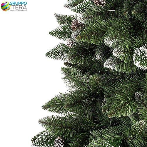 Bakaji-Albero-di-Natale-Folto-Pino-KING-PREMIUM-Artificiale-Innevato-con-Pigne-Bianco-Naturale-Punte-Ricoperte-di-Neve-Materiale-PVC-vere-pigne-di-Abete-con-base-a-Croce-Altezza-150-cm-550-Rami-Ingnif