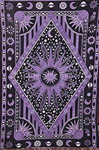 Tse sun and moon tapestry wall hanging cotton for Sun and moon fleece fabric