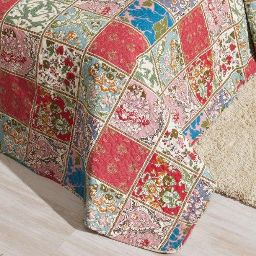 San Carlos Mosaique - Colcha copriletto patchwork, relleno ligero, esquinas redondeadas, color naranja
