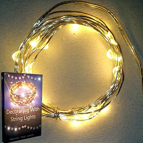 Qualizzi® Starry Lights Mini + Free Ebook: 20 Micro Leds Warm White Color On Ultra-Thin Silver Wire (6.56Ft / 2M.) - Starry String Lights Battery Operated + On/Off Switch. Hot Item As String Bike Lights! Favourite'S Girls & Boys Bedroom Hanging Lights. In