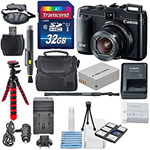 Canon PowerShot G16 12.1MP CMOS Digital Camera with 5x Optical Zoom and 1080p Full-HD Video Wi-Fi Enabled USA Warranty +32GB SDHC & AC/DC Travel Charger + Extra Battery (NB-10L) + Deluxe Accessory kit