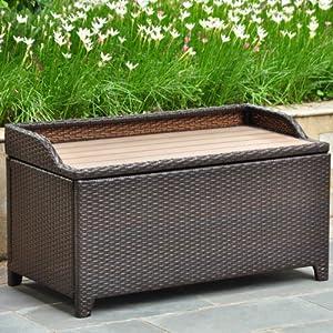 International Caravan Barcelona Resin Wicker Storage Deck box with Faux Wood Top from International Caravan Inc