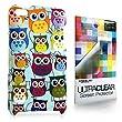 CASEiLIKE ® - Multi Owl Grafik - Snap on Koffer zurück-BABY BLUE Hülle für Apple 4 G Touch / iPod Touch 4 Generation - mit Displayschutzfolie 1pcs.