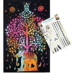 Your Spirit Space Combo Pack - Rainbow Good Luck Elephant Tapestry & Temporary Flash Bling Tattoos