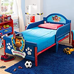 Sturdy Nick Jr. Paw Patrol Steel and Plastic Frame Toddler Bed with 3D Graphics at Footboard