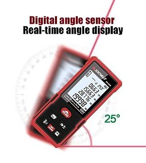 Distance Angle Laser Measure Tape, 328 Feet Digital Laser Distance Meter Adjustable Mute Laser Meter with Backlit LCD, Handheld Laser Measure Distance, Pythagorean, Area and Volume (328 Ft) (Color: 328 Ft)