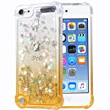 Flocute iPod Touch 5 6 7 Case, iPod Touch 5 6 7 Glitter Case Gradient Bling Sparkle Floating Liquid Soft TPU Cushion Luxury Fashion Girls Women Cute Case for iPod Touch 5th 6th 7th (Gradient Gold) (Color: Gradient Gold)
