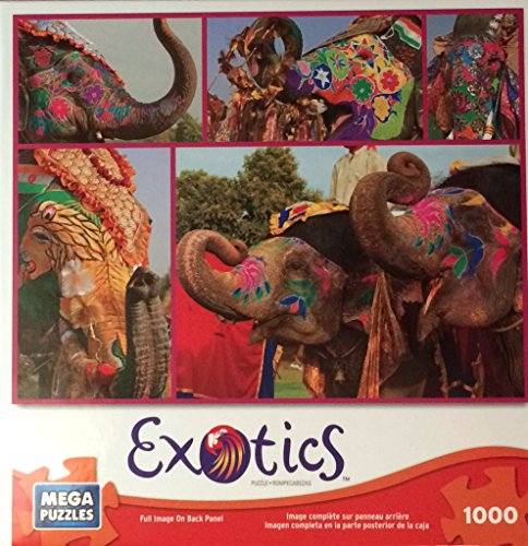 Painted Elephants 1000 Piece Exotics Mega Puzzle