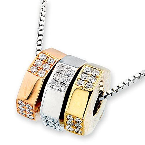 18K 3 Tone Gold Hexagon Bearings Parts Diamond Pendant W/Silver Chain (0.36ct,G-H Color,SI1-SI2 Clarity)