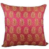 Svisti Raw Silk Single Piece Cushion Cover-Pink, 40.64 Cm X 40.64 Cm - B00N3NYYVW