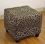 4D Concepts Leopard Ottoman, Leopard Print Cloth