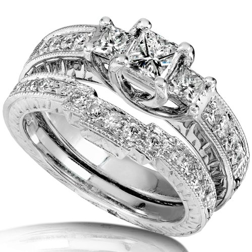 1.00ctw Princess Cut Diamond Wedding Ring Set in 14Kt White Gold (HI/I1) &#8211; Size 6.5