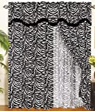 Zebra Animal Curtain Set w/ Valance/Sheer/Tassels
