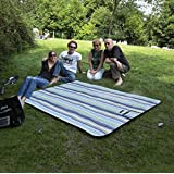 Attmu Beach Picnic Outdoor Blanket Mat, Water-Resistant Outdoor Mat, All-Purpose Mat, Perfect For Picnic, Beach, Traveling, Camping, Hiking - 78 in x 59 in - Blue Stripe