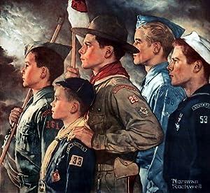 Norman Rockwell Boy Scouts Forward America 1951 Art Print - 8 in x 9 in - Unmatted, Unframed