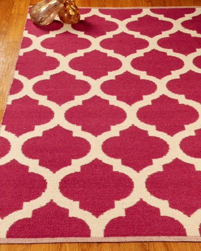 NaturalAreaRugs Hand Woven Reversible Winslow Dhurrie Wool Rug by Artisan Rug Maker, 4' x 6', Red