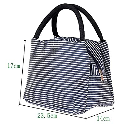 Lunch Bags, Danibos Large Solid Useful Linen Cotton Stripe 2 Fashion Lunch Tote Bag Insulated Lunch Bag Grocery Bags with Zipper by Danibos