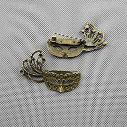 20 PCS Jewelry Making Charms Findings Supply Supplies Crafting Lots Bulk Wholesale Antique Bronze Tone Plated 24261 Carnival Masks Brooch