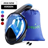 Wonice Snorkel Mask Full Face For Adults and Kids,180°Panoramic View Anti-Fog, Anti-Leak with Adjustable Head Straps,Compatible and Detachable GoPro Snorkeling & Swimming Mask (Black&Blue, L/XL) (Color: Black&Blue, Tamaño: L-XL)