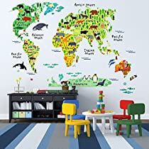 Kids Educational Animal World Map Wall Stickers - EveShine Peel & Stick Home Decor Wall Art Sticker Mural Decals for Kids Baby Children Bedroom Living Room