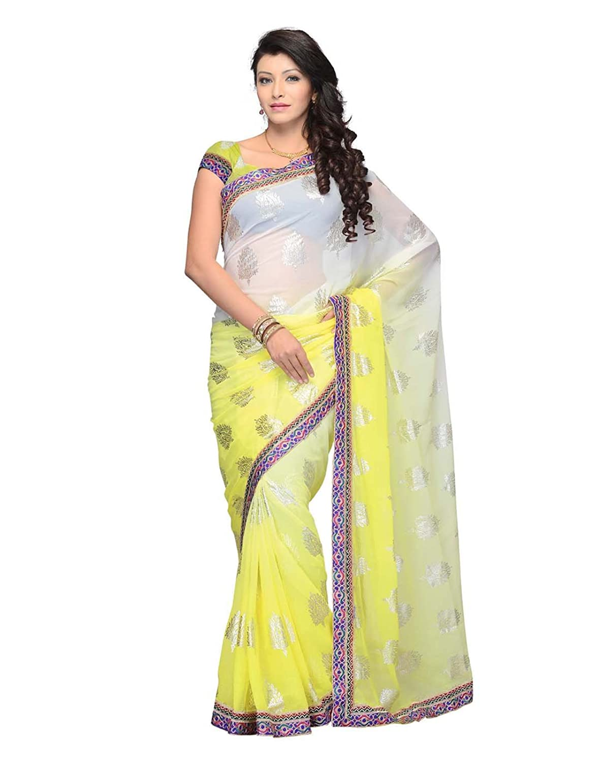 Dealtz Fashion Yellow Geogette Saree