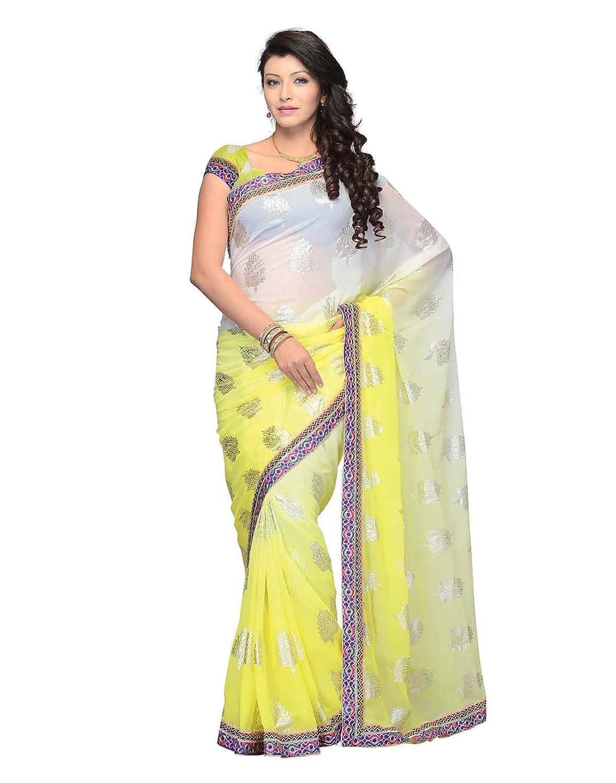 Dealtz Fashion Yellow Geogette Saree
