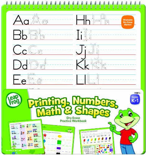 LeapFrog Printing, Numbers, Math and Shapes Dry Erase Practice Workbook for Grades K-1 with Washable Dry Erase Marker (19438) - 1