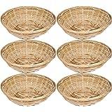 Set Of 6 Vintage Round Natural Bamboo Wicker Bread Basket Storage Hamper Trays