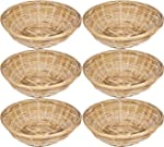 Set Of 6 Vintage Round Natural Bamboo...