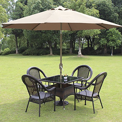 Yaheetech Outdoor Patio Umbrella 45 Degree Tilt, UV Protection Great for Garden, Pool Side, Beach, Hotel etc. (Tan 8ft)