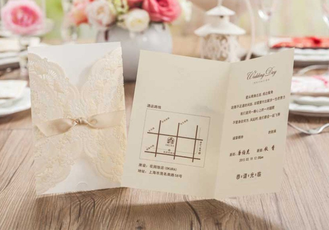 WISHMADE Laser Cut Invitations Cards Kit Beige Printable 50 Count for Wedding Birthday Bridal Shower with Envelopes Seals 4