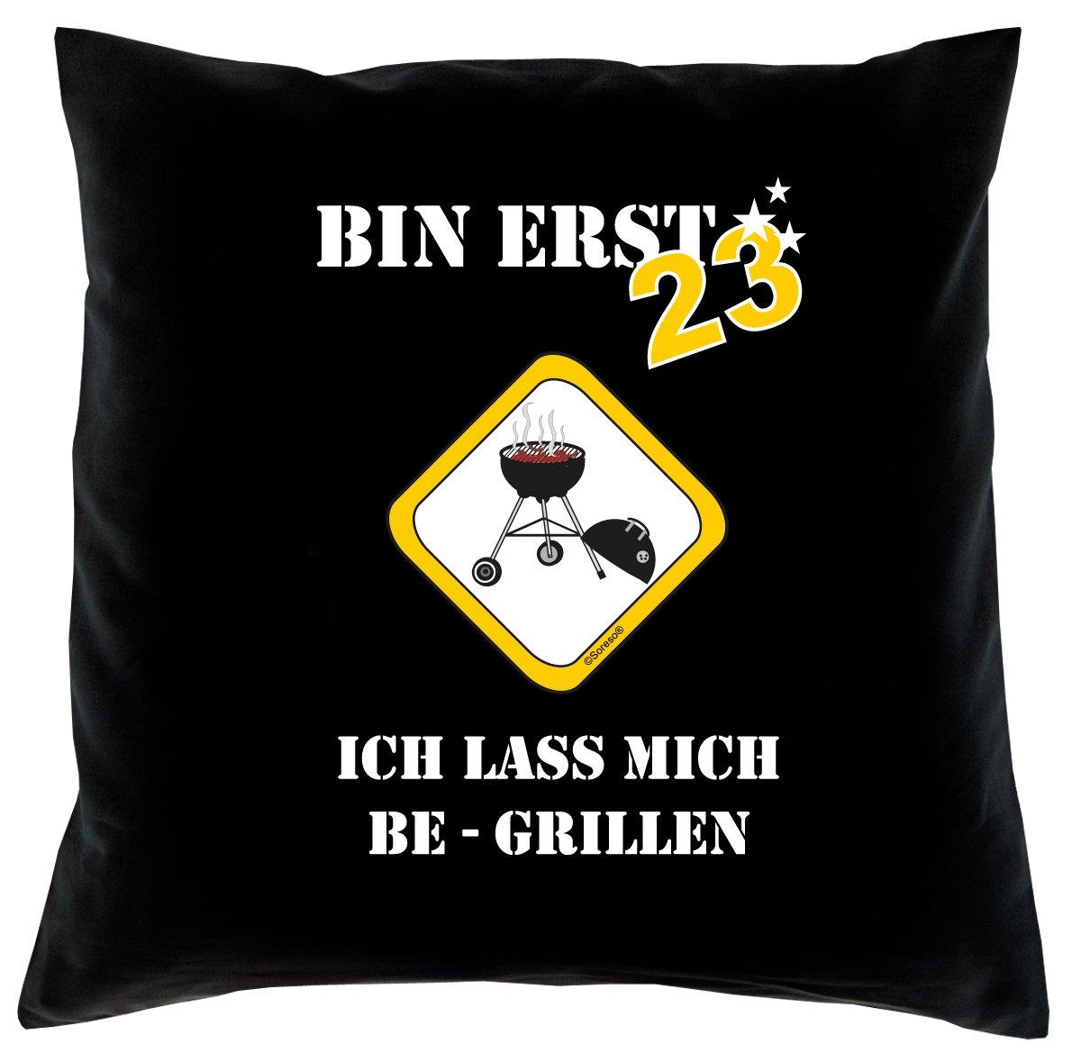23. Geburtstag Kissen, Sitzkissen, Sofakissen, Dekokissen Bin erst 23! Farbe: Schwarz komplett mit Füllung 40x40cm Größe: 40x40cm