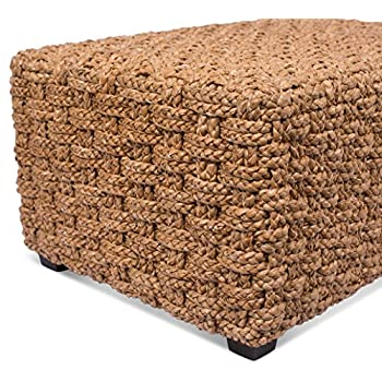 BirdRock Home Checkered Weave Seagrass Coffee Table | Hand Woven | Rectangle | Living Room Decor | Fully Assembled