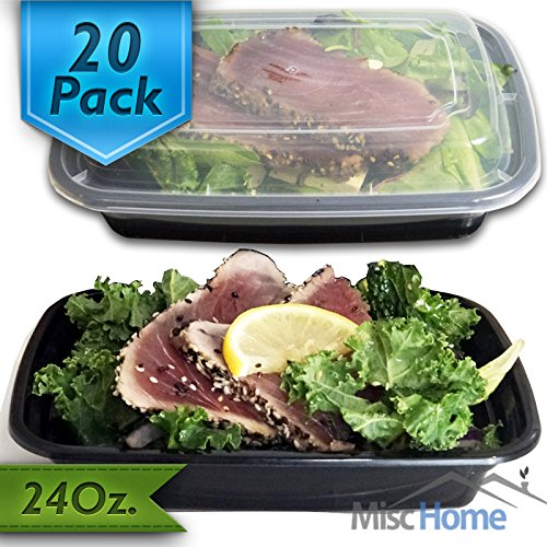 [20 Pack] 24 Oz. Meal Prep Containers BPA Free Plastic Reusable Food Storage Container Microwave & Dishwasher Safe w/ Airtight Lid For Portion Control & Bento Box Lunch Box (Safe Plastic Food Container compare prices)