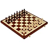 Full Sized Magnetic Wooden Portable Travel Chess Game Set, 15 Inches