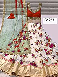 Cenizas Red & White Colour Satin Embroidered Semi-stitched Dress Material
